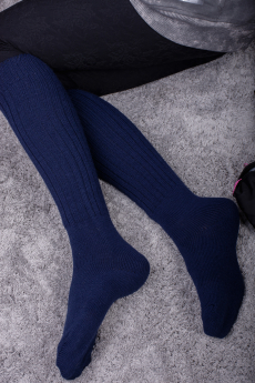 Синие длинные женские гольфы из ангоры Натали
