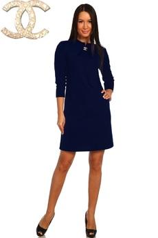 Темно-синее платье с длинным рукавом Натали